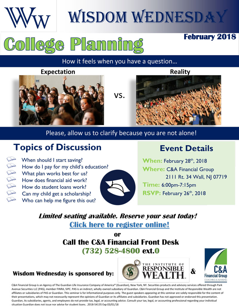 Wisdom Wednesday February 2018 College Planning